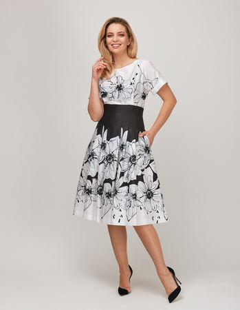 Urocza sukienka z cienkiej bawełny czarno-białej (2)