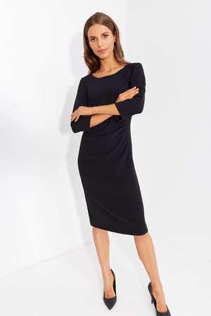 Sukienka z drapowaniem z boku- czarna (1)
