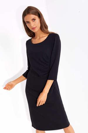 Sukienka z drapowaniem z boku- czarna (2)