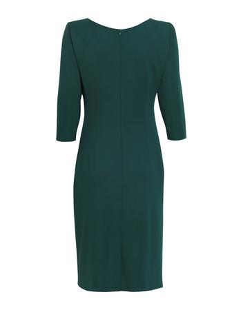 Sukienka z drapowaniem z boku - ciemnozielona (4)