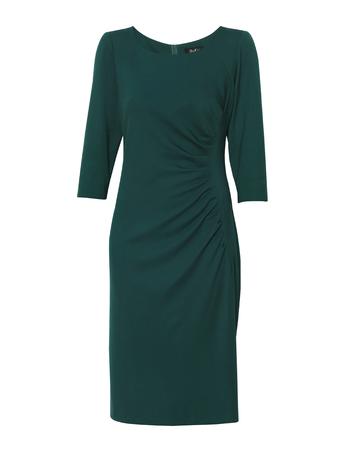 Sukienka z drapowaniem z boku - ciemnozielona (3)