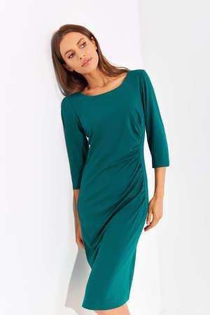 Sukienka z drapowaniem z boku - ciemnozielona (2)