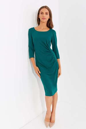 Sukienka z drapowaniem z boku - ciemnozielona (1)