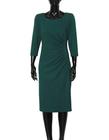 Sukienka z drapowaniem z boku - ciemnozielona (5)