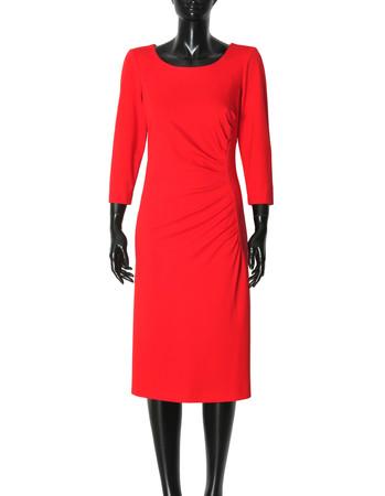 Dzianinowa czerwona z drapowaniem z boku. (3)