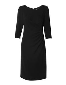 Sukienka z drapowaniem z boku - granatowa