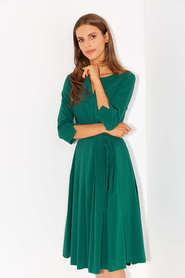 Sukienka z zakładkami z lekkiej bawełny- ciemna zieleń