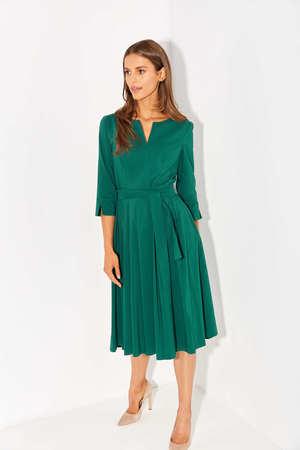 Sukienka z zakładkami z lekkiej bawełny- ciemna zieleń (2)