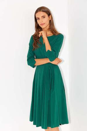 Sukienka z zakładkami z lekkiej bawełny- ciemna zieleń (1)