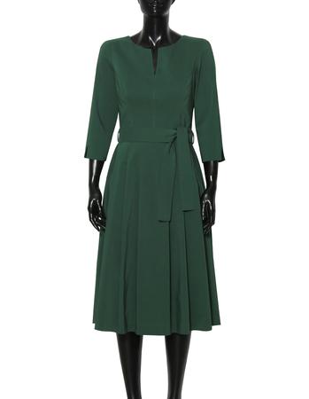 Sukienka z zakładkami z lekkiej bawełny- ciemna zieleń (5)