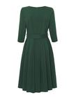 Sukienka z zakładkami z lekkiej bawełny- ciemna zieleń (4)