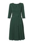 Sukienka z zakładkami z lekkiej bawełny- ciemna zieleń (3)