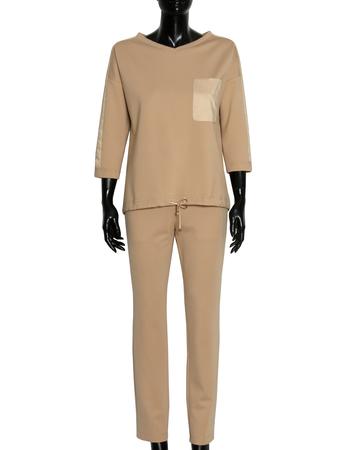 Spodnie sportowe z dzianiny - camelowe (5)