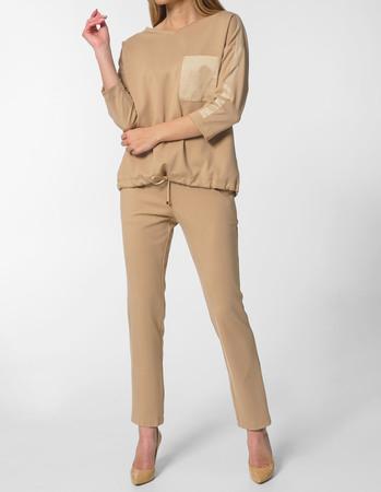 Spodnie sportowe z dzianiny - camelowe (1)