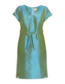 Sukienka z jedwbnego szantungu w kolorze morskim