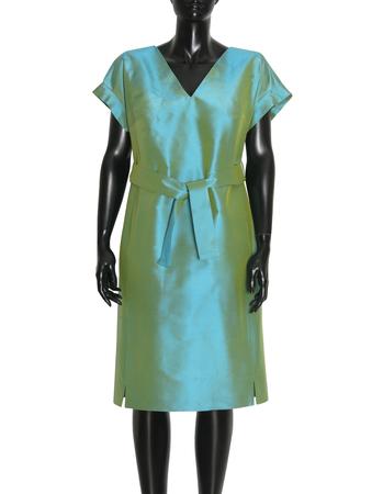 Sukienka z jedwbnego szantungu w kolorze morskim (3)