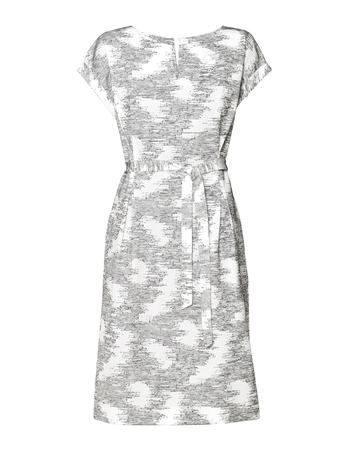 Prosta sukienka z zakładkami w tali z ciekawej tkaniny (1)
