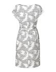 Prosta sukienka z zakładkami w tali z ciekawej tkaniny (2)