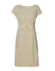 Prosta sukienka z zakładkami w tali z żakardu bawełnianego