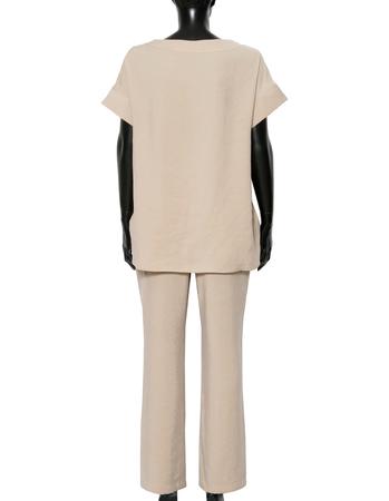 Bluzka z przewiewnej tkaniny -  jasno beżowa (5)
