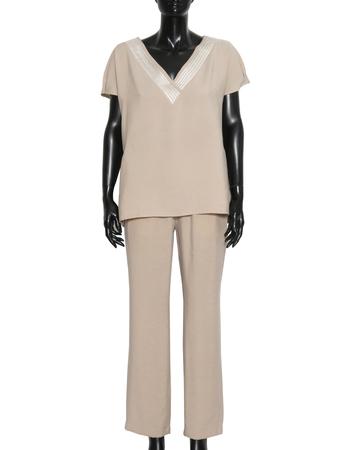 Spodnie z przewiewnej tkaniny - jasny beż (3)