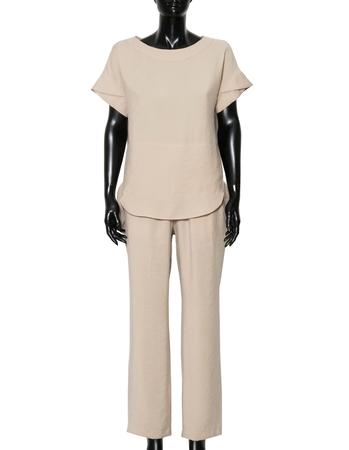 Spodnie z przewiewnej tkaniny - jasny beż (4)
