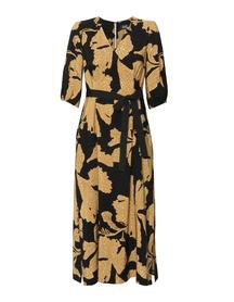 Sukienka z wiskozy w złote kwiaty- długa