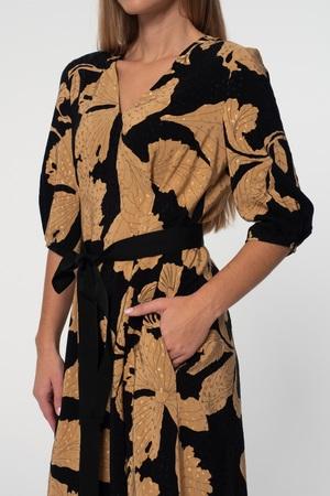 Sukienka z wiskozy w złote kwiaty- długa (2)