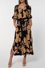 Sukienka z wiskozy w złote kwiaty- długa (1)