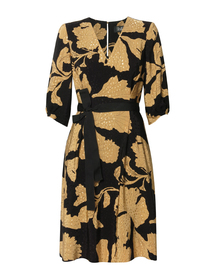 Sukienka z wiskozy w złote kwiaty - krótka