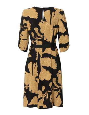 Sukienka z wiskozy w złote kwiaty - krótka (2)