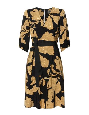 Sukienka z wiskozy w złote kwiaty - krótka (1)