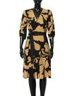Sukienka z wiskozy w złote kwiaty - krótka (3)