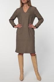 Klasyczna sukienka z pepitki camel-czarnej