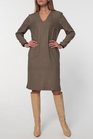 Klasyczna sukienka z pepitki camel-czarnej (1)