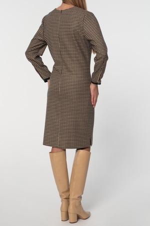 Klasyczna sukienka z pepitki camel-czarnej (3)