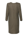 Klasyczna sukienka z pepitki camel-czarnej (5)