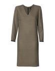 Klasyczna sukienka z pepitki camel-czarnej (4)