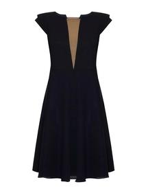 Sukienka jedwabna szeroka z dekoltem V - ciemno-granatowa