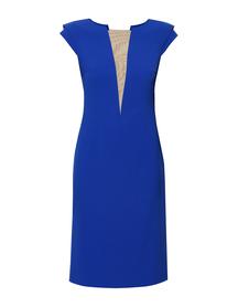 Sukienka szafirowa z dekoltem V z siatki