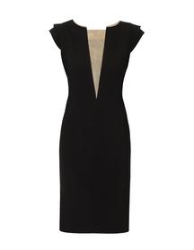 Sukienka czarna  z dekoltem V z cielistej siatki