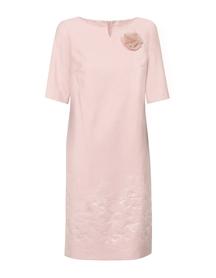 Sukienka prosta z rękawem, ze wzorem żakardowym na dole