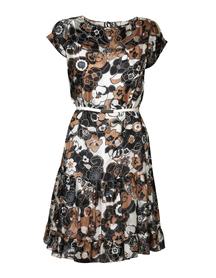 Sukienka z jedwabiu w kwiaty brązowe