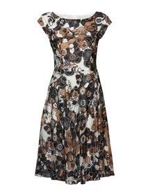 Sukienka z jedwabiu w brązowe kwiaty -przymarszczony dół