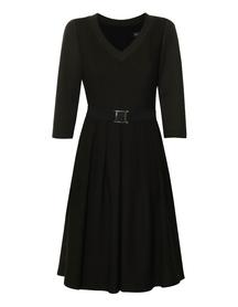 Sukienka z wełny w kolorze ciemnego  khaki- dół w zakładki