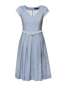 Szeroka sukienka z bawełnianego żakardu w kolorze niebieskim
