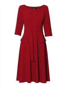 Sukienka bordowa szeroka z kieszeniami.