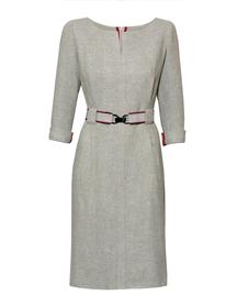 Sukienka prosta z mięciutkiej tkaniny jasno szarej z paskiem