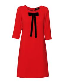 Czerwona sukienka z odpinaną aksamitką.