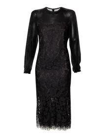 Wizytowa sukienka czarna z karczkiem z siatki